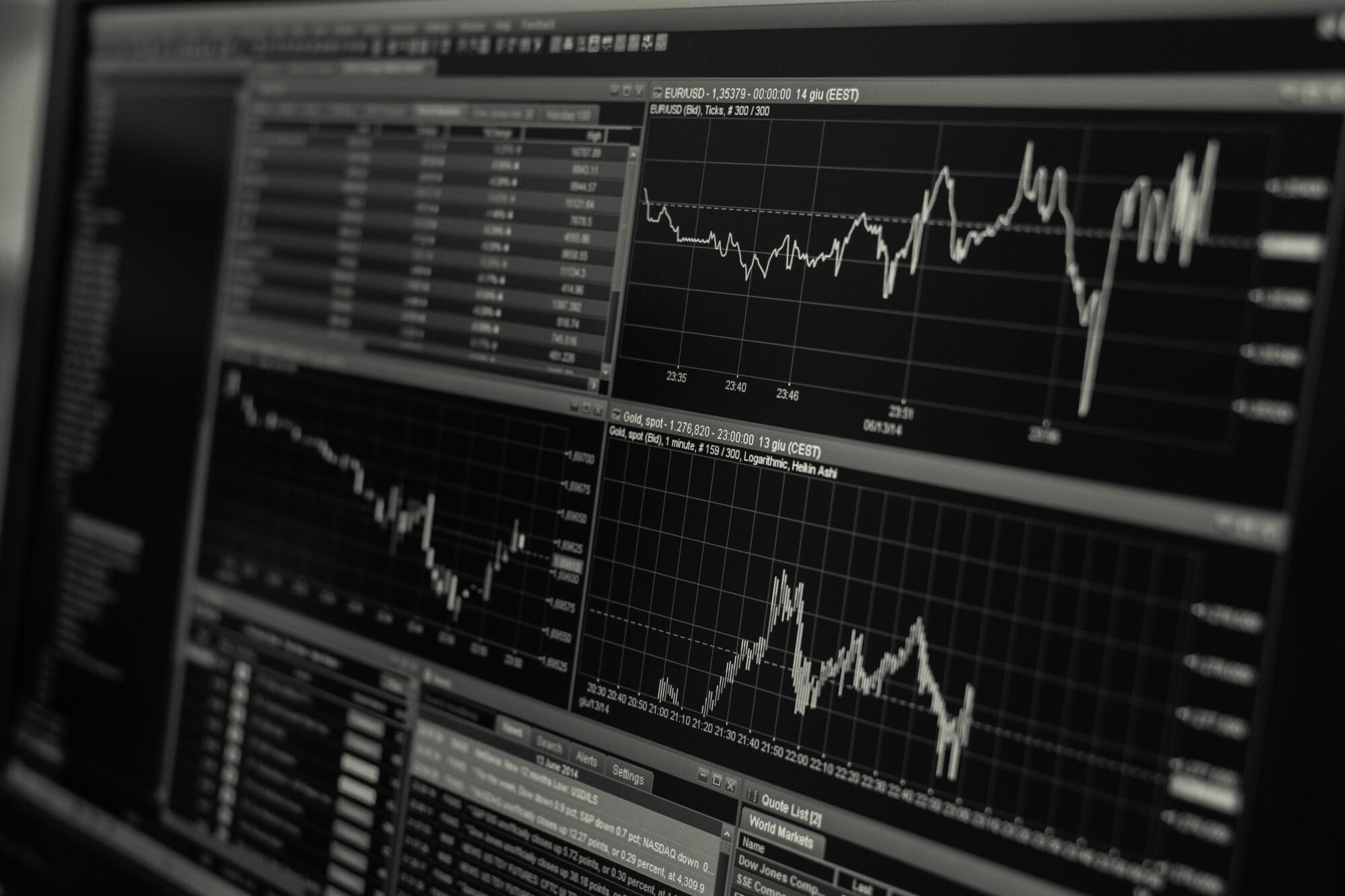 Bitcoin image of stocks on a computer